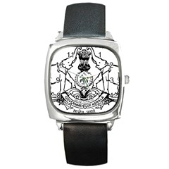 Seal Of Indian State Of Kerala  Square Metal Watch by abbeyz71