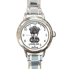 Seal Of Indian State Of Meghalaya Round Italian Charm Watch by abbeyz71