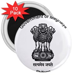 Seal Of Indian State Of Meghalaya 3  Magnets (10 Pack)  by abbeyz71