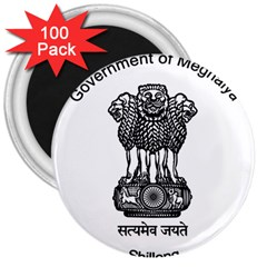 Seal Of Indian State Of Meghalaya 3  Magnets (100 Pack) by abbeyz71