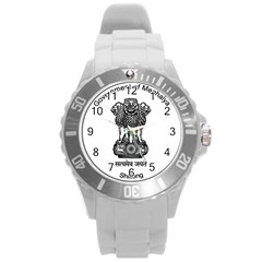 Seal Of Indian State Of Meghalaya Round Plastic Sport Watch (l) by abbeyz71