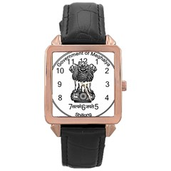 Seal Of Indian State Of Meghalaya Rose Gold Leather Watch  by abbeyz71