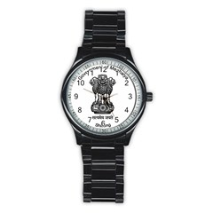 Seal Of Indian State Of Meghalaya Stainless Steel Round Watch by abbeyz71