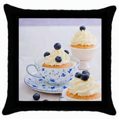 Blueberry Cupcakes Throw Pillow Case (black) by Coelfen