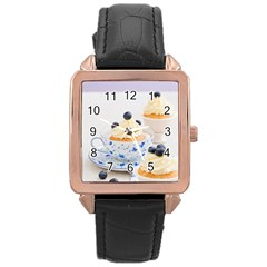 Blueberry Cupcakes Rose Gold Leather Watch  by Coelfen
