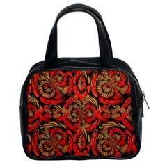 Red And Brown Pattern Classic Handbags (2 Sides) by linceazul