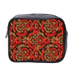 Red And Brown Pattern Mini Toiletries Bag 2 Side by linceazul