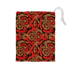 Red And Brown Pattern Drawstring Pouches (large)  by linceazul