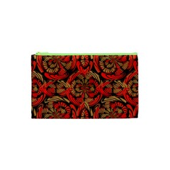 Red And Brown Pattern Cosmetic Bag (xs) by linceazul