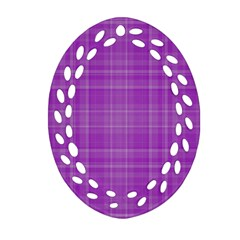 Plaid Design Ornament (oval Filigree) by Valentinaart