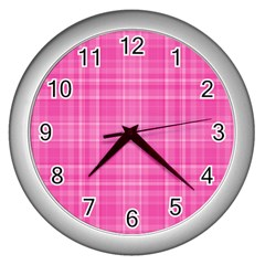 Plaid Design Wall Clocks (silver)