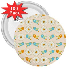 Birds And Daisies 3  Buttons (100 Pack)  by linceazul