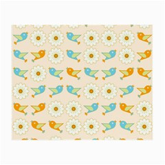 Birds And Daisies Small Glasses Cloth by linceazul