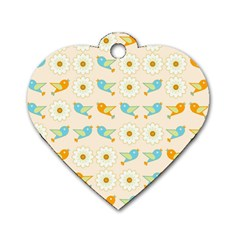 Birds And Daisies Dog Tag Heart (one Side) by linceazul