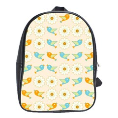 Birds And Daisies School Bags(large)  by linceazul