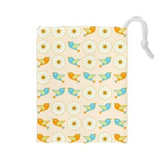 Birds And Daisies Drawstring Pouches (large)  by linceazul