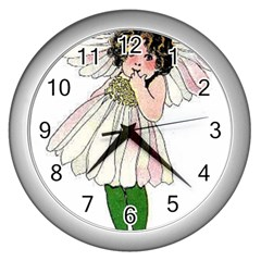Daisy Vintage Flower Child Cute Funny Floral Little Girl Wall Clocks (silver)  by yoursparklingshop
