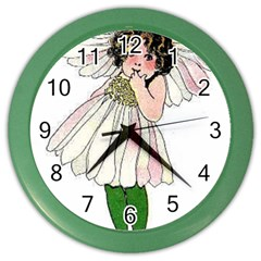 Daisy Vintage Flower Child Cute Funny Floral Little Girl Color Wall Clocks by yoursparklingshop