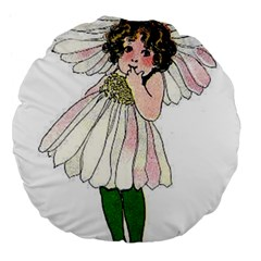 Daisy Vintage Flower Child Cute Funny Floral Little Girl Large 18  Premium Flano Round Cushions
