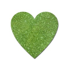 Green Glitter Abstract Texture Heart Magnet by dflcprints