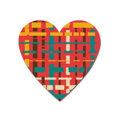 Colorful Line Segments Heart Magnet by linceazul