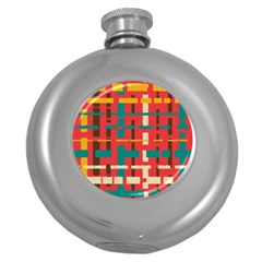 Colorful Line Segments Round Hip Flask (5 Oz) by linceazul