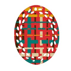 Colorful Line Segments Ornament (oval Filigree) by linceazul
