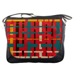 Colorful Line Segments Messenger Bags by linceazul
