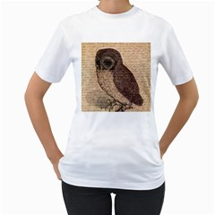 Vintage Owl Women s T Shirt (white) (two Sided) by Valentinaart