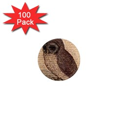 Vintage Owl 1  Mini Magnets (100 Pack)  by Valentinaart