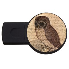 Vintage Owl Usb Flash Drive Round (4 Gb) by Valentinaart