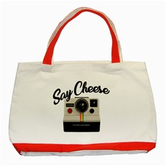 Say Cheese Classic Tote Bag (red) by Valentinaart