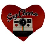 Say Cheese Large 19  Premium Heart Shape Cushions Front