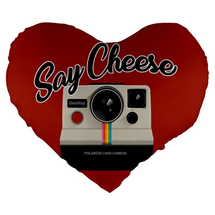 Say Cheese Large 19  Premium Heart Shape Cushions