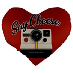 Say Cheese Large 19  Premium Heart Shape Cushions Back
