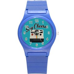 Say Cheese Round Plastic Sport Watch (s) by Valentinaart