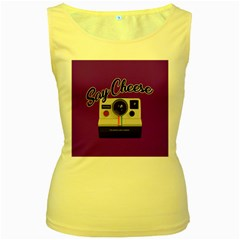 Say Cheese Women s Yellow Tank Top