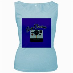 Say Cheese Women s Baby Blue Tank Top