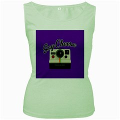 Say Cheese Women s Green Tank Top