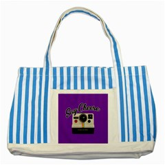 Say Cheese Striped Blue Tote Bag