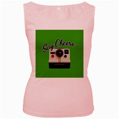 Say Cheese Women s Pink Tank Top