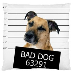Bad Dog Large Cushion Case (two Sides) by Valentinaart