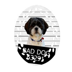 Bad Dog Ornament (oval Filigree) by Valentinaart