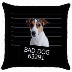 Bad Dog Throw Pillow Case (black) by Valentinaart