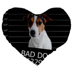 Bad Dog Large 19  Premium Heart Shape Cushions by Valentinaart