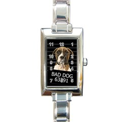 Bad Dog Rectangle Italian Charm Watch by Valentinaart