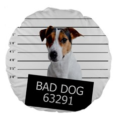 Bad Dog Large 18  Premium Flano Round Cushions by Valentinaart