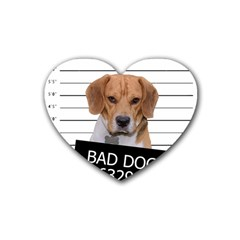 Bad Dog Rubber Coaster (heart)  by Valentinaart