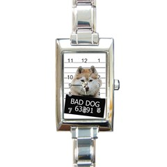 Bad Dog Rectangle Italian Charm Watch