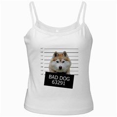 Bad Dog White Spaghetti Tank by Valentinaart